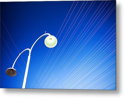 Lamp Post And Cables Metal Print by Yew Kwang