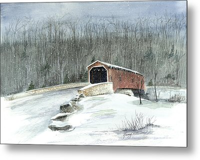 Metal Print featuring the painting Lancaster County Covered Bridge In The Snow  by Nancy Patterson
