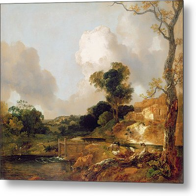 Landscape With Stream And Weir Metal Print