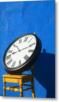 Large Clock On Yellow Chair Metal Print