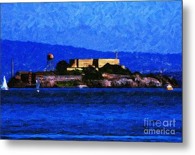 Last Light Over Alcatraz Metal Print by Wingsdomain Art and Photography