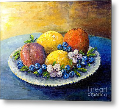 Metal Print featuring the painting Lemons And Blueberries by Lou Ann Bagnall