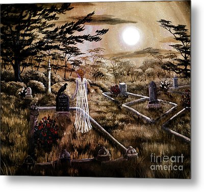 Lenore With Red Roses Metal Print