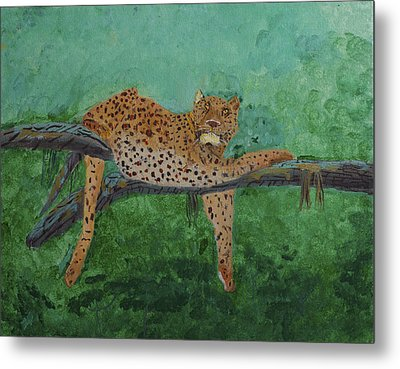 Leopard Laying On A Branch Metal Print