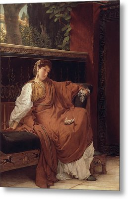 Lesbia Weeping Over A Sparrow Metal Print by Sir Lawrence Alma-Tadema