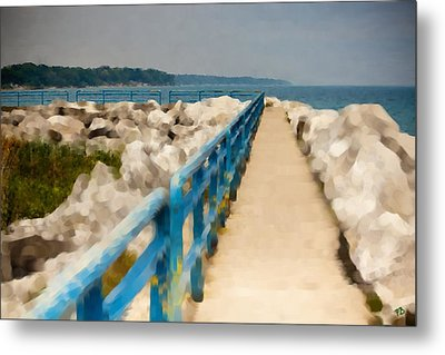 Lexington Harbor Boardwalk Metal Print by Paul Bartoszek