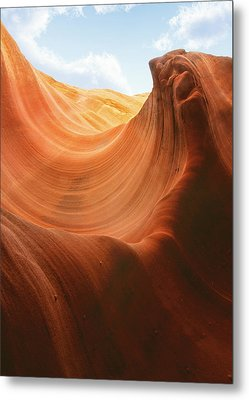 Light At The End Of The Tunnel - Antelope Canyon Az Metal Print by Christine Till