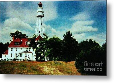 Lighthouse Off Lake Michigan Metal Print by Marsha Heiken