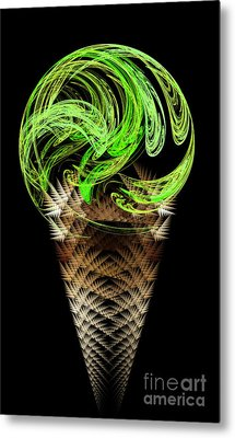 Lime Ice Cream Cone Metal Print by Andee Design