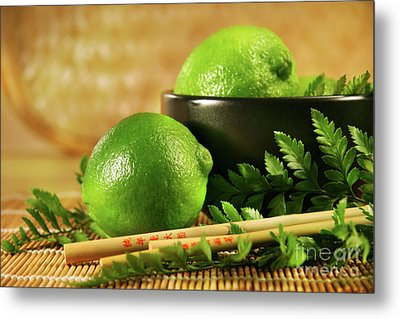Limes With Chopsticks Metal Print by Sandra Cunningham