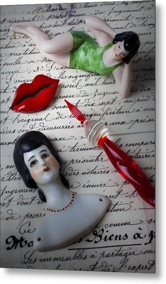 Lips Pen And Old Letter Metal Print by Garry Gay
