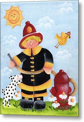 Little Fireman Metal Print by Pat Olson