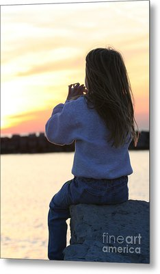 Little Girl Sitting On Rocks Metal Print by Christopher Purcell