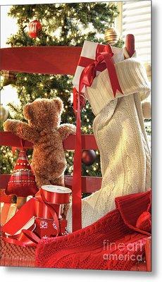 Little Teddy Bear Looking Through Chair Metal Print by Sandra Cunningham