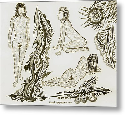 Live Nude 17 Female Metal Print by Robert SORENSEN