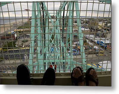 Looking Down At Two Peoples Feet Metal Print by Todd Gipstein