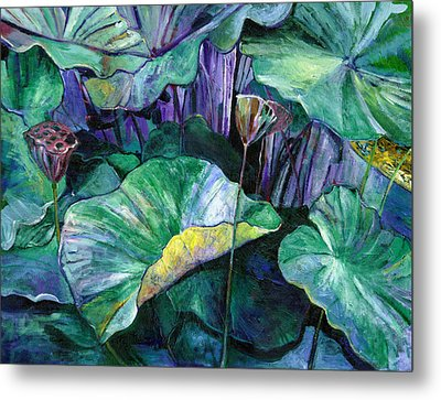 Lotus Pond Metal Print by Carol Mangano