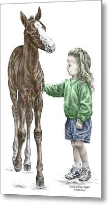 Metal Print featuring the drawing Love At First Sight - Girl And Horse Print Color Tinted by Kelli Swan
