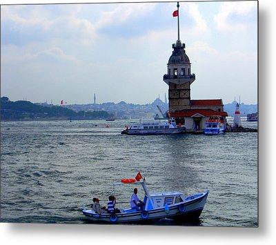 Metal Print featuring the photograph Maidens Tower Istanbul by Lou Ann Bagnall