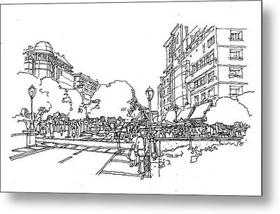 Metal Print featuring the drawing Main Street by Andrew Drozdowicz