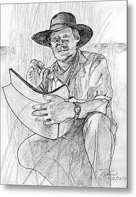 Man Pencil Portrait Metal Print by Rom Galicia