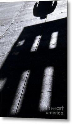Man's Shadow Black White Metal Print by Design Remix