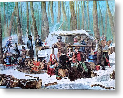 Maple Sugaring, 1872 Metal Print by Photo Researchers