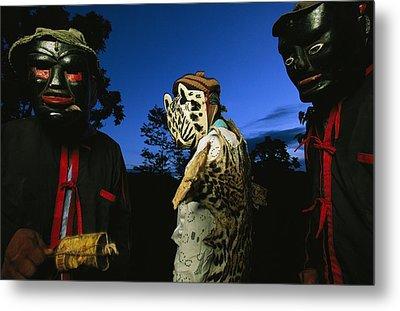 Maya Dancers Dressed As Hunters Metal Print