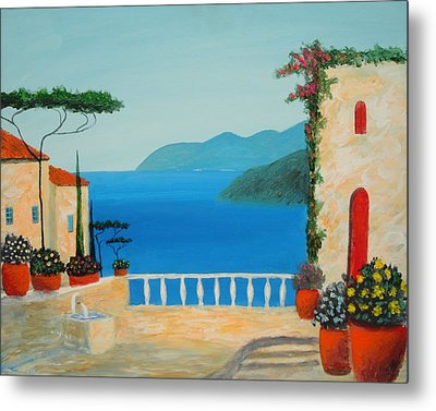 Metal Print featuring the painting Mediterranean Fantasy by Larry Cirigliano