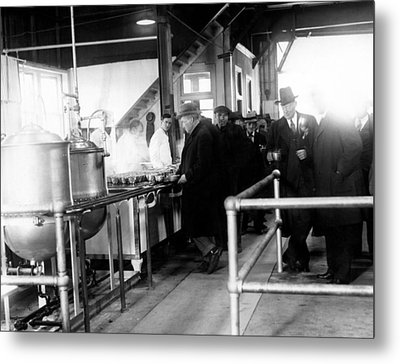 Men Wait In Line For Food Metal Print by Everett