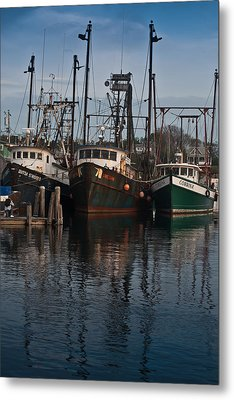 Menemsha Village Fishing Boats Metal Print by Peggie Strachan