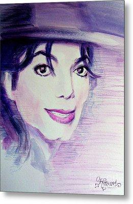Michael Jackson - Purple Fedora Metal Print by Hitomi Osanai