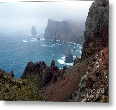 Misty Cliffs Metal Print by John Chatterley