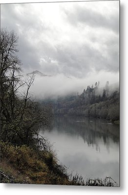 Misty River Drive Along The Umpqua Metal Print by Alison Foster