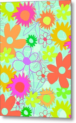 Mixed Flowers Metal Print by Louisa Knight