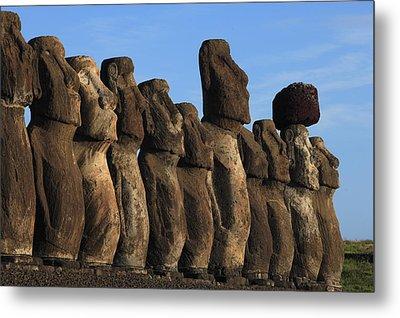 Moai Along The Coast Of Easter Island Metal Print by Stephen Alvarez