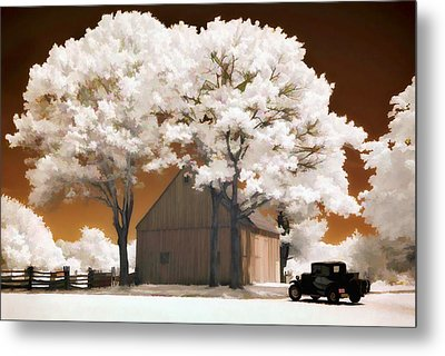 Model A And Old Barn Metal Print by Steve Zimic