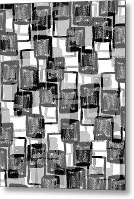 Monochrome Squares Metal Print by Louisa Knight