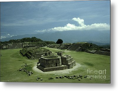 Monte Alban Plaza Metal Print by John  Mitchell