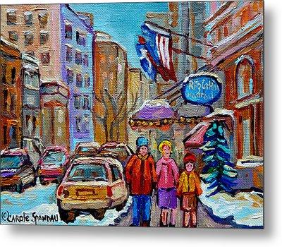 Montreal Street Scenes In Winter Metal Print by Carole Spandau