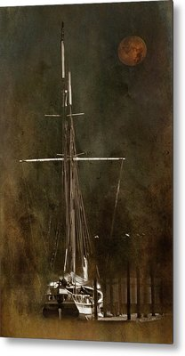 Moon Over Masts Metal Print