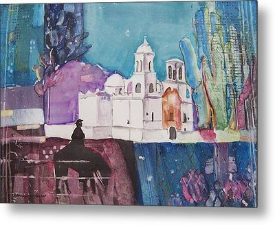 Moon Over The Mission Metal Print by Regina Ammerman