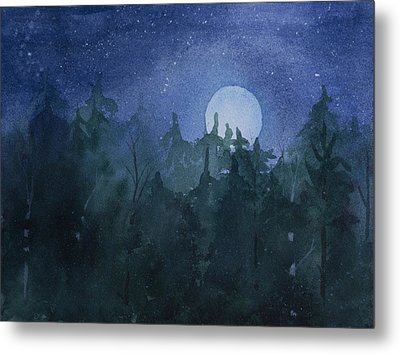 Moon Setting Over Forest Metal Print by Debbie Homewood