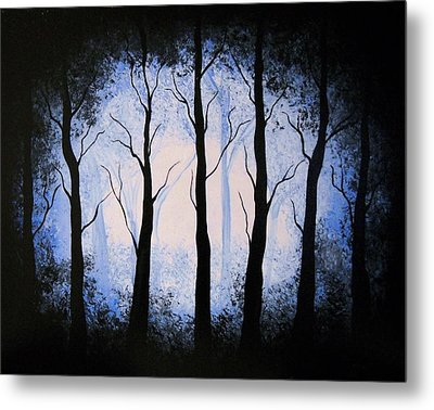Metal Print featuring the painting Moonlight Forest by Edwin Alverio