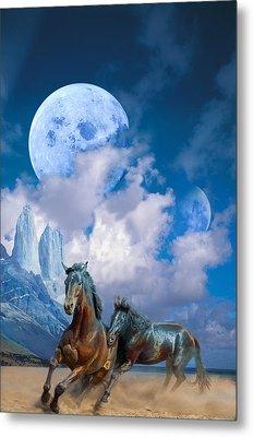 Moonlight Horses Metal Print by Pavlos Vlachos