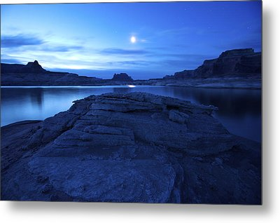 Moonrise Over West Canyon And Lake Metal Print by Michael Melford