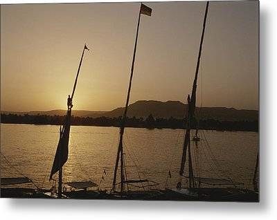 Moored Feluccas On The Nile River Metal Print by Kenneth Garrett