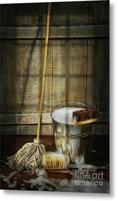 Mop With Bucket And Scrub Brushes Metal Print by Sandra Cunningham