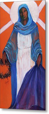 Mother Mary In Sorrow Metal Print by Mary DuCharme