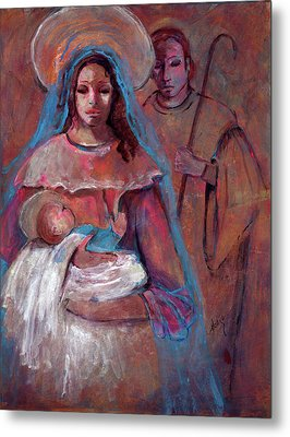 Mother Mary With Joseph And Jesus Baby Metal Print by Mary DuCharme